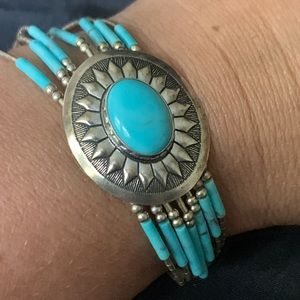 Native American Silver & Turquoise Concho Bracelet
